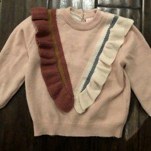 Zara Baby Pink Ruffle Sweater